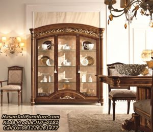 New Design Lemari Hias Jati Display Cabinet Mewah